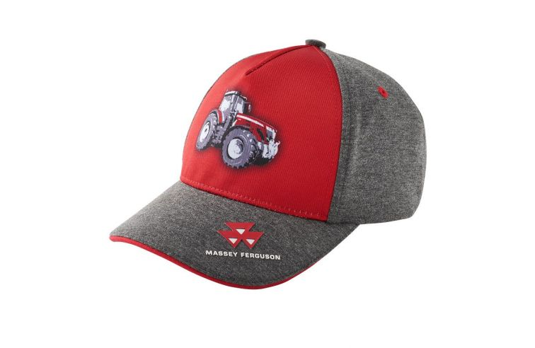 KIDS' GREY AND RED CAP