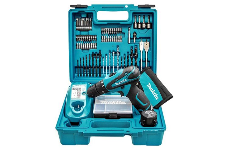 MAKITA HP330DX100 10.8V COMBI DRILL + 74 PIECE ACCESSORY SET