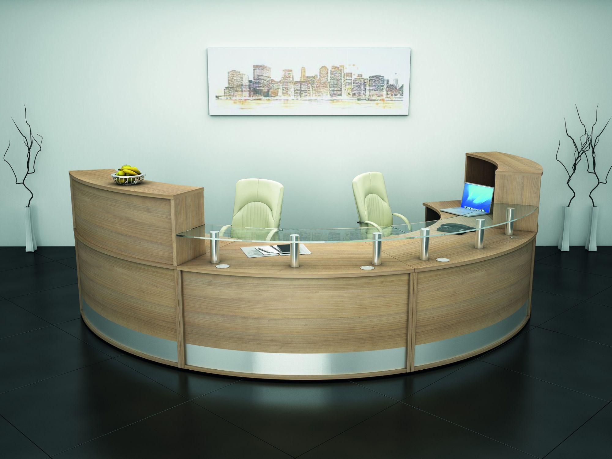 1200mm Curved Reception Desk Glass Shelf Avalon