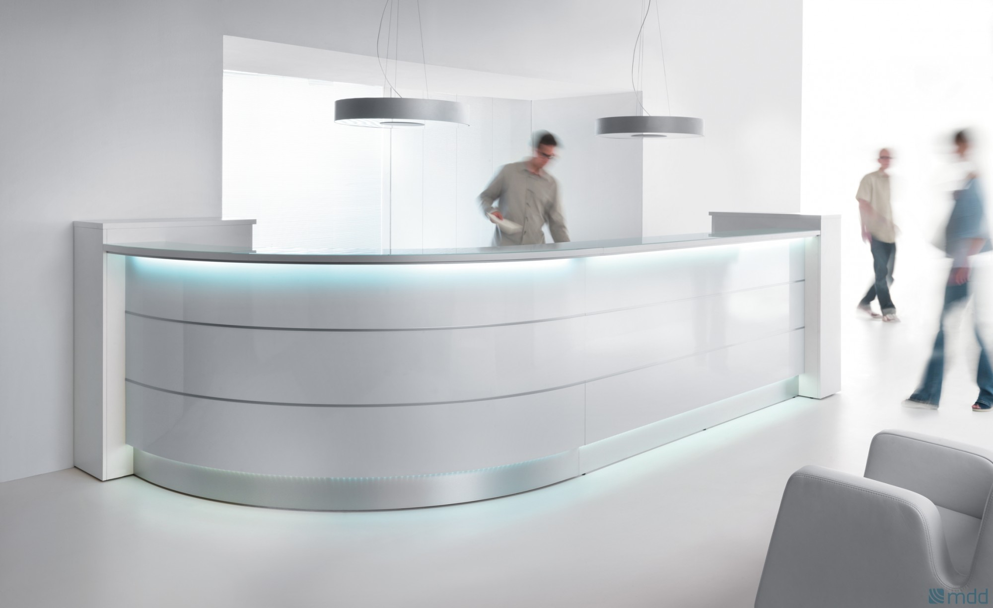 curved reception desk with illumination valde 3212mm wide online reality. Black Bedroom Furniture Sets. Home Design Ideas
