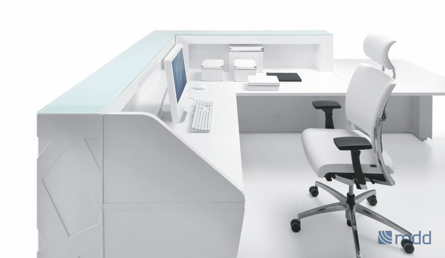 Zigger straight reception desk with desk height area - Online Reality
