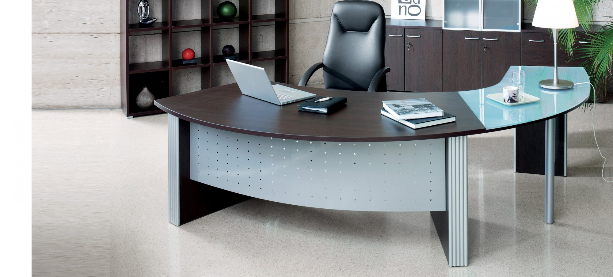 Curve Desk and Glass Curve Return - Direction Style - Desk with right