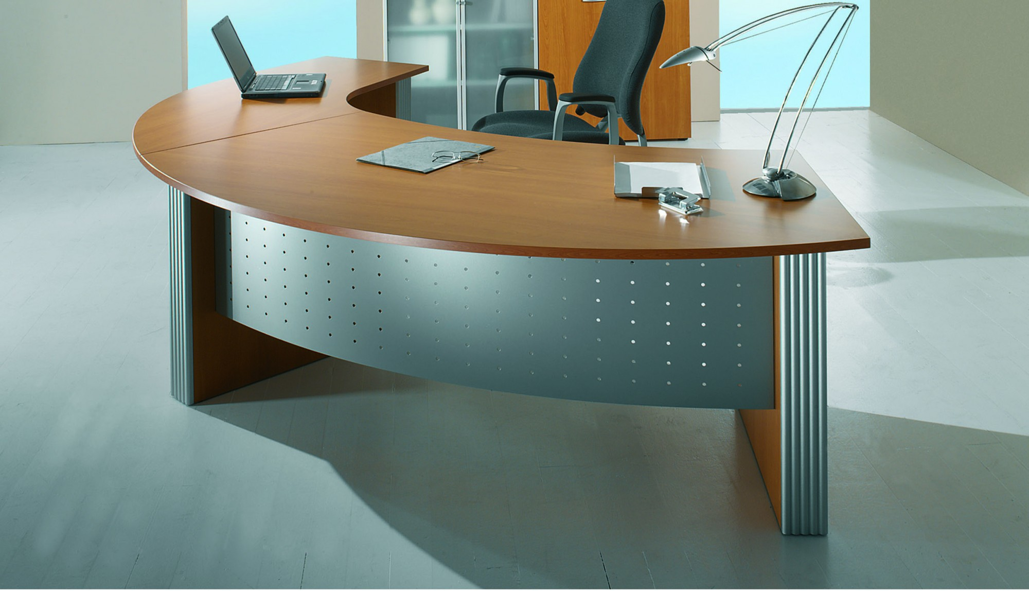 direction style curved desk and curved return desk