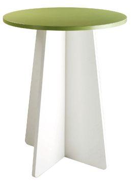 P238 Table Haute Bistro Plateau Vert Avocat Pied Blanc