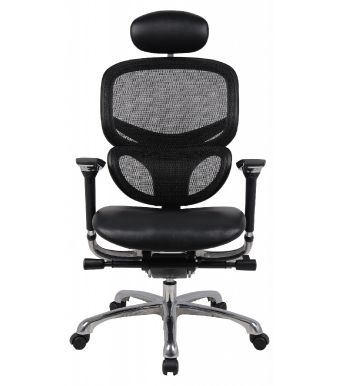 Wave Mesh Back Leather Seat With HR-Front