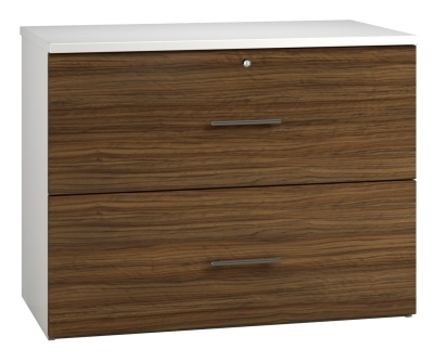 Side Filing Cabinet 2 Drawer Wide - Dark Wood Grain (FLAT) (1)
