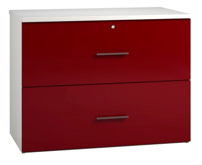 Side Filing Cabinet 2 Drawer Wide - Red (FLAT)