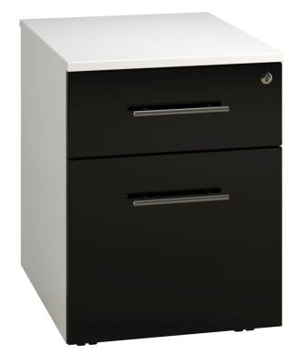 Low Mobile 2 Drawer Unit - Black (FLAT)