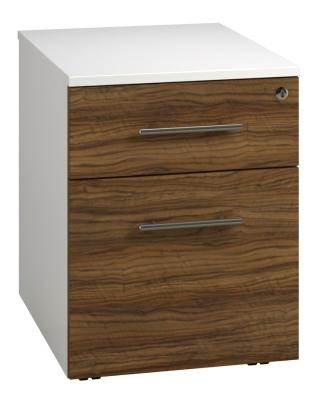 Low Mobile 2 Drawer Unit - Dark Wood Grain (FLAT)