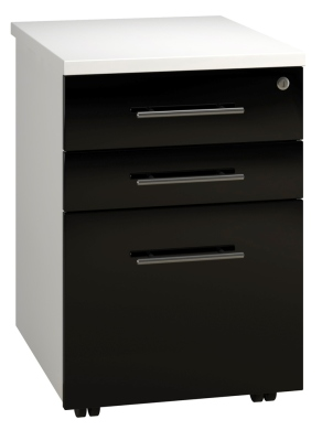 Tall Mobile Pedestal 3 Drawer - Black (FLAT)