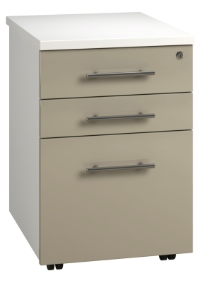 Tall Mobile Pedestal 3 Drawer - Stone (FLAT)