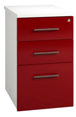 Desk High Pedestal 3 Drawer Unit - Red (FLAT)
