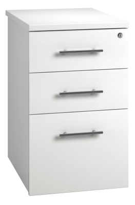 Desk High Pedestal 3 Drawer Unit - White (FLAT)