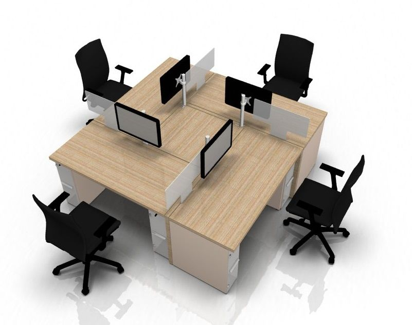 Four person desk arrangement from REflex - 2100mm x 2100mm - Online