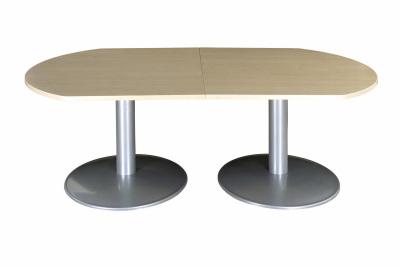 Table Modulaire 2 Demi-oblongue Imitation Erable 2 Pieds Tulipe