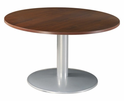 Table Ronde Dia 120 Imitation Noyer Pied Tulipe Alu