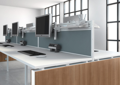 B-office-travailler-accessoires-separateur-frontal-tissu-rail-avec-accessoires-cadre-blanc-tissu-gris