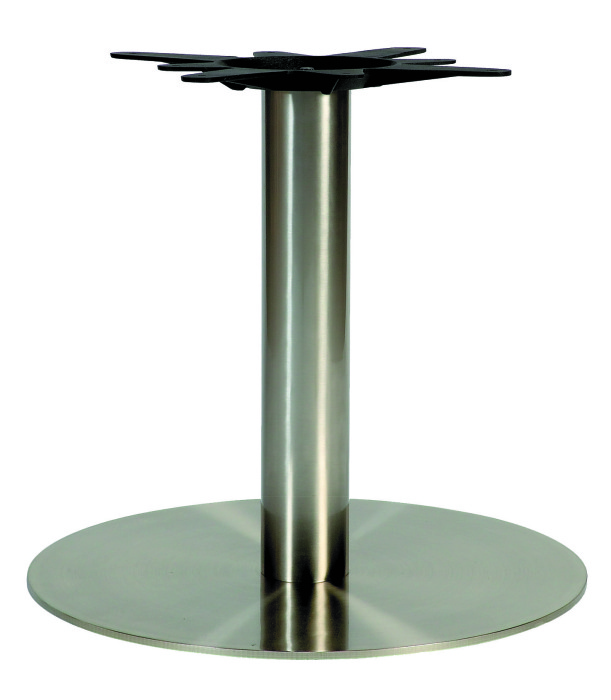 Round Stainless Base Coffee Height Tables: Dalio Large Circular Stainless Steel Table Bases