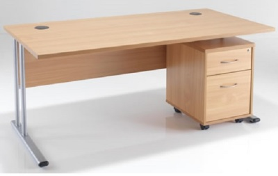 Dusk Rectangular Desk And Pedestal A WP-1
