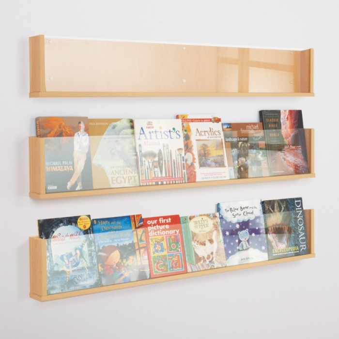 Wooden Shelf Style Wall Mounted Leaflet Holder Single