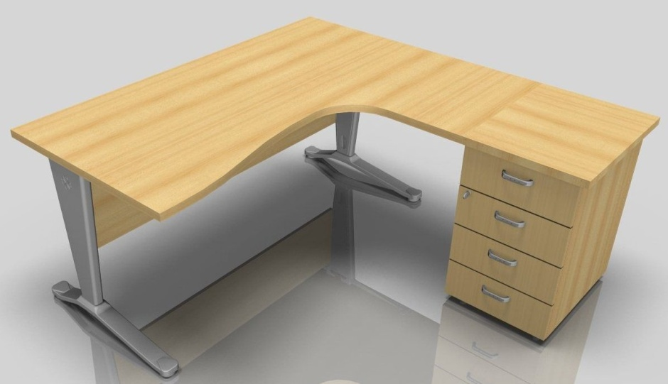 right hand corner desk with drawers vito 1600mm online reality. Black Bedroom Furniture Sets. Home Design Ideas