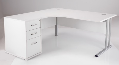 Left Hand White Corner Desk And Pedestal
