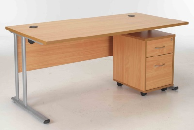 Beech Desk And Pedstal Package