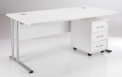 White Desk And Drawers Package