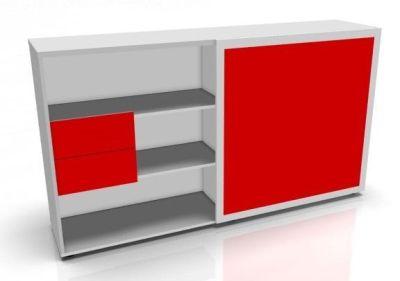 Red Sliding Door Storage Unit
