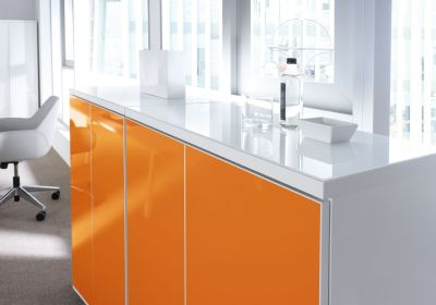 White And Orange Office Space