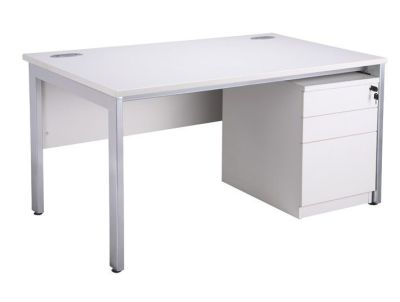 Stylish White Bench Desk And Pedestal