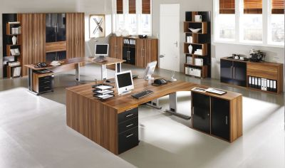 Office Design In A Dark Walnut Finish With A Touch Of Black Gloss