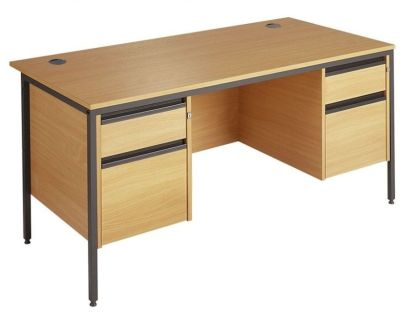 Next Day Maddellex H Frame Desk With Double Two Drawer Pedestal