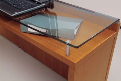 Rich Sycamore Finish With A Glass Top Desk Return