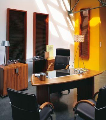 Santos Executive Furniture Range With Designer Black Leather Chairs