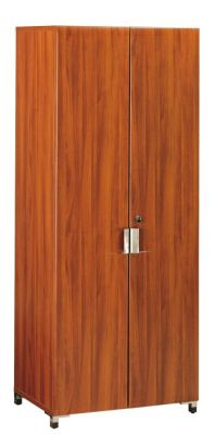 Santos Tall Office Storage Cupboard In A Rosewood Effect Finish With Stylish Silver Handles