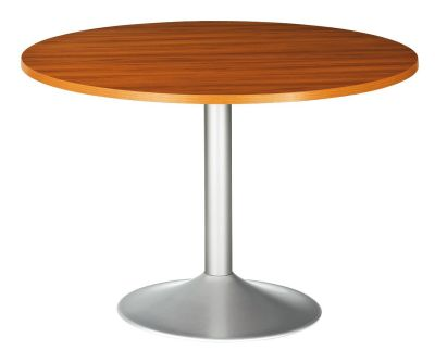 Santos Circular Meeting Table With A Silver Trumpet Base In A Rosewood Effect Finish