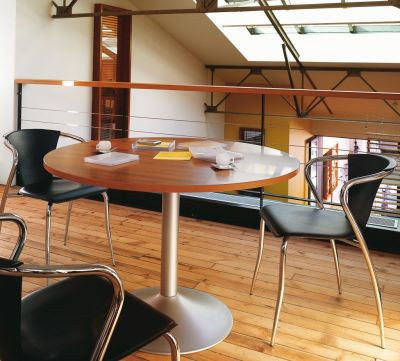 Santos Circular Meeting Table With Leather Conference Chairs