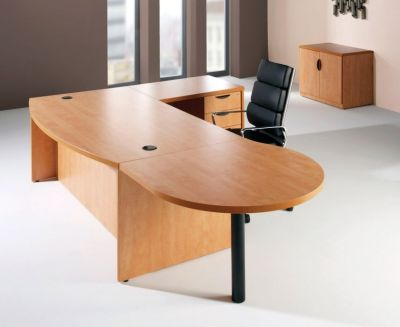 Prime Bow Fronted Office Desk With Meeting End And Desk Return