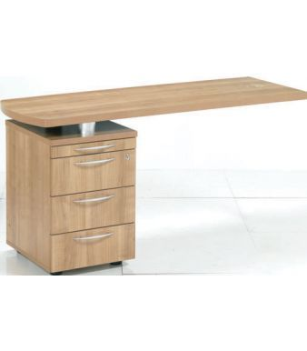 E Space Desk Sida Return With Three Drawer Pedestal And Pen Tray In Rich Cappuccino Finish
