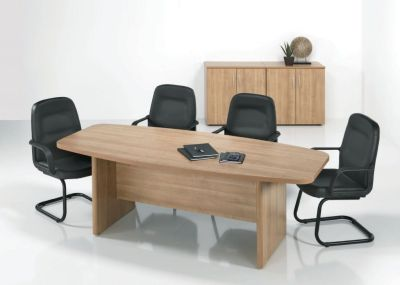 E Space Executive Meeting Table In A Rich Cappuccino Finish With Four Black Leather Conference Chairs