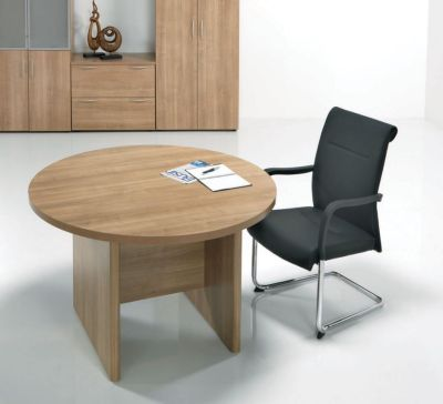 E Space Round Meeting Room Table In Warm Cappuccino Finish With Black Leather Conference Chair
