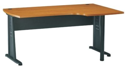Jazz Corner Office Desk With 25mm Thick Top And Designer Charcoal Metal Legs