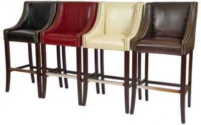Rockwell Leather Bar Stools In Red Ivory Brown And Black Leather