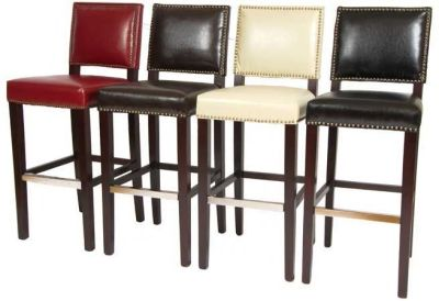 Malton Leather Bar Stools In Red Brown Ivory And Black Leather
