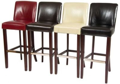 Southdown Leather Bar Stools In Red Brown Ivory And Black Leather