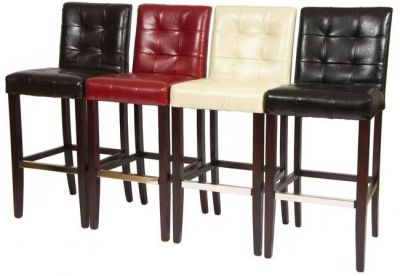 Torrington Leather Bar Stools In Red Brown Ivory And Black Leather