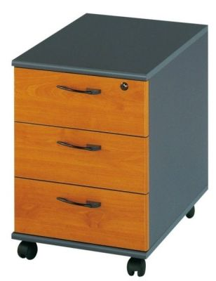 Jazz Three Drawer Mobile Pedestal In A Alder Finish With Designer Handles