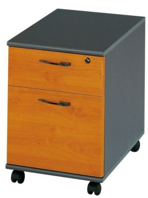 Jazz Two Drawer Mobile Pedestal In A Alder Finish With Designer Handles