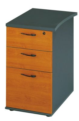 Jazz Lockable Desk Height Pedestal In A Warm Alder Finish With Designer Handles